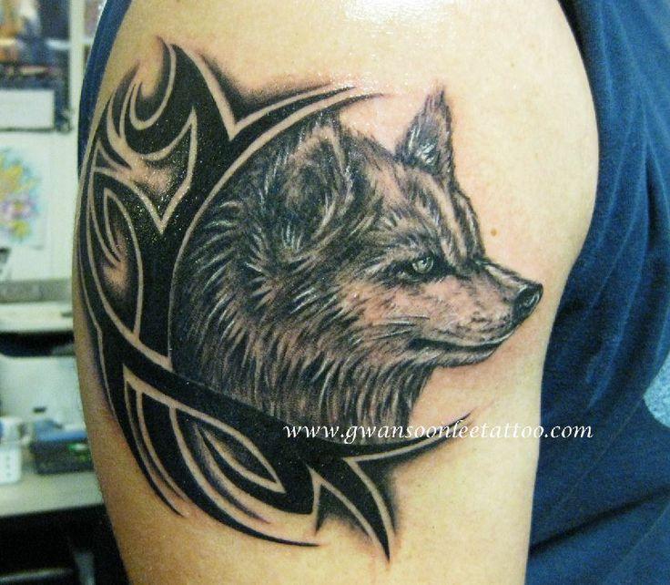 Tribal Wolf tattoo design on arm | Gwan Soon Lee Tattoos ...