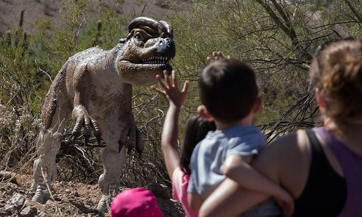 """New Phoenix Zoo exhibit teaches kids of all ages about dinosaurs - """"Dad! Look!"""" Three-year-old Anthony Contrades runs toward his dad as he watches a life-size tyrannosaurus rex lean down and roar. Visitors of all ages pointed and gawked as they walked through the Phoenix Zoo's newest exhibit, Dinosaurs in the Desert. The interactive experience features 23... - https://azbigmedia.com/new-phoenix-zoo-exhibit-teaches-kids-ages-dinosaurs/"""