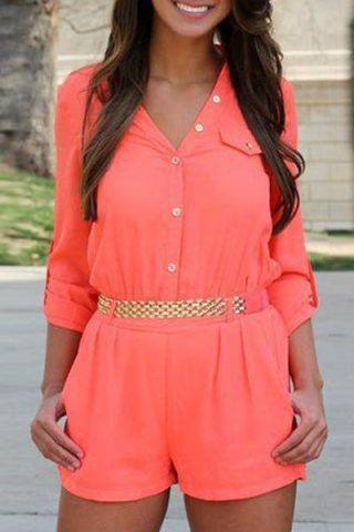 Stylish V-Neck Long Sleeve Solid Color Button Design Women's Romper