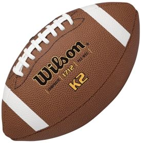 For a more affordable alternative to the traditional Wilson® game footballs, choose the Wilson® K2 Composite Pee Wee Football. It features a premium composite leather cover, multi-layered lining and a butyl rubber bladder for durability. The ACL™ laces are made of pebbled composite to offer a better grip than traditional laces. He can play like a pro with Wilson® K2 Pee Wee Football.