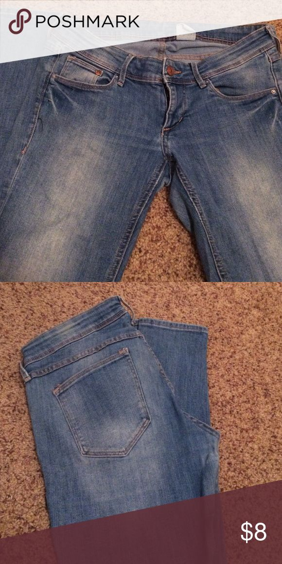 Size 30/32 super skinny, super low waist jeans! Super skinny, super low waist H&M jeans.  Gently used in a smoke free, pet free home.  There are no strains and in great shape! Size 30/32.  The denim is faded, purchased that way. H&M Jeans Skinny
