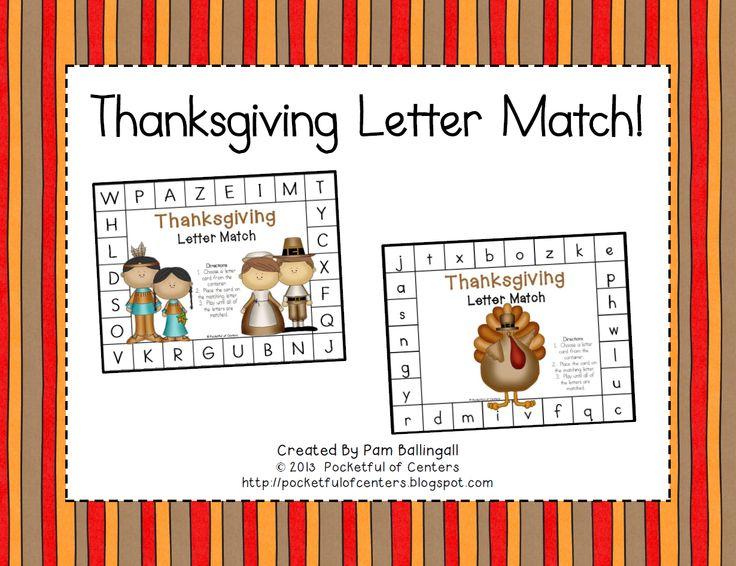 Thanksgiving Letter Match Freebie