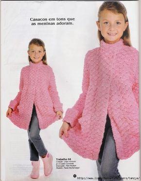 TRICO y CROCHET-madona-mía: Abrigo (casaco) Rosa en crochet para niña