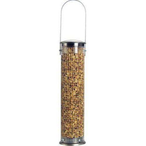 289A Medium Peanut Feeder     Medium Peanut Tube. Stainless steel mesh. Brush nickel finish. Divider on base for every last seed available for birds.