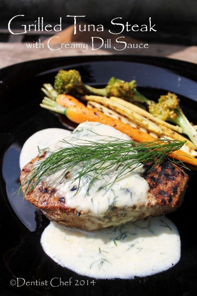 Grilled Cajun Style Tuna Steak with Creamy Dill Sauce ala
