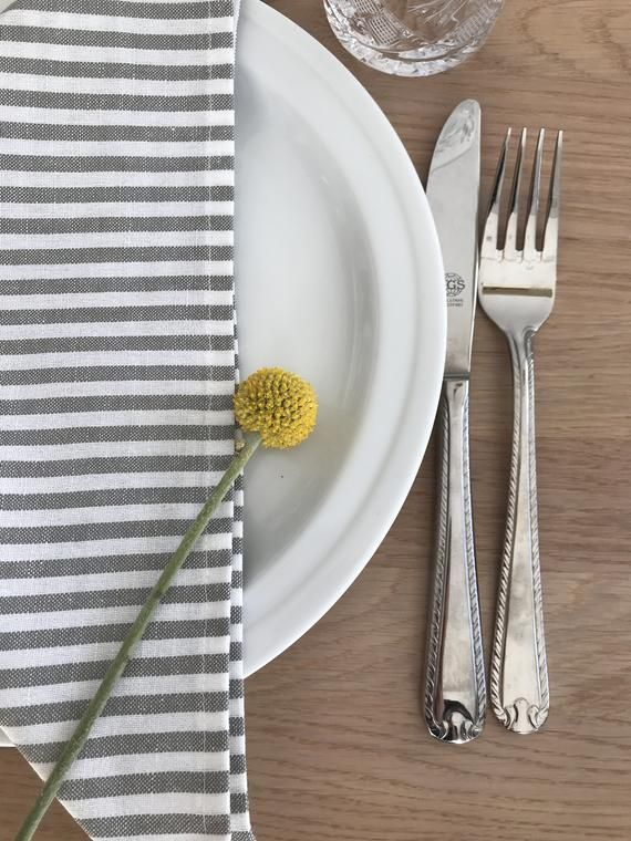 Cotton Linen Napkins With Grey And White Stripes Striped Cloth Napkins For Dinner Or Lunch Reusable Everyday Napkins Kitchen Table Decor Linen Dinner Napkins Cloth Napkins Kitchen Table Decor