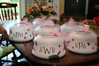 Baby Shower Hostess Gift ideas.. Custom monogrammed Tupperware cake carriers