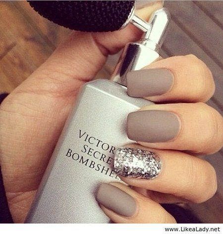 Cool nail inspiration to try...  matte nude with glitter accent nail  ACTUALLY HAVE THESE SHADES OF NAIL POLISH