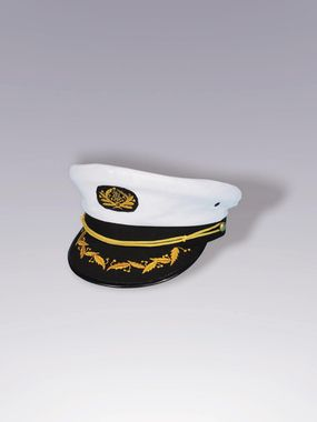 Captain's hat with white top and black bill with gold braid accent. One size fits most adults. Not adjustable.