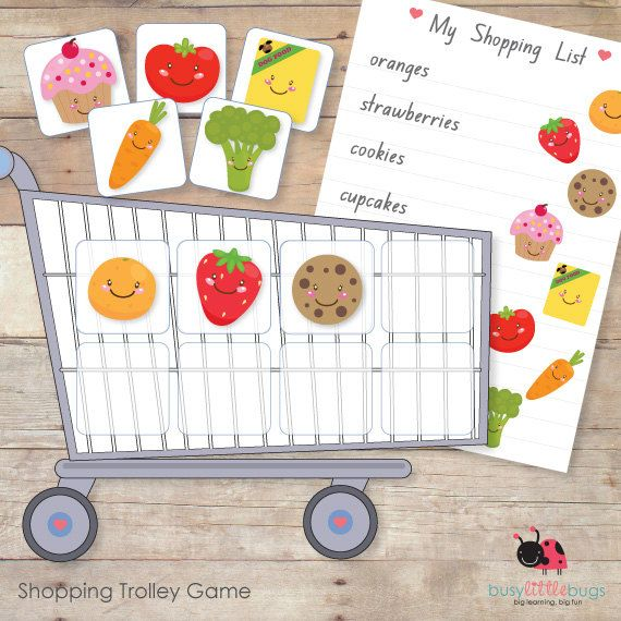 I like this idea. I would probably hide each of the shopping list items throughout the house and make it a race to search for the items and fill your cart....great for a rainy day game.!