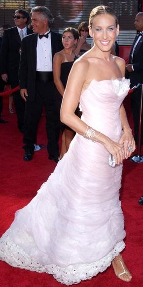 Sarah Jessica Parker's 50 Most Memorable Looks Ever | For the 55th Annual Emmy Awards, Sarah Jessica Parker chose this layered, organza soft pink dress by Chanel Couture, which dazzled on the red carpet, 2003