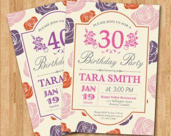 40.o invitación de cumpleaños para las mujeres. Rosa por arthomer