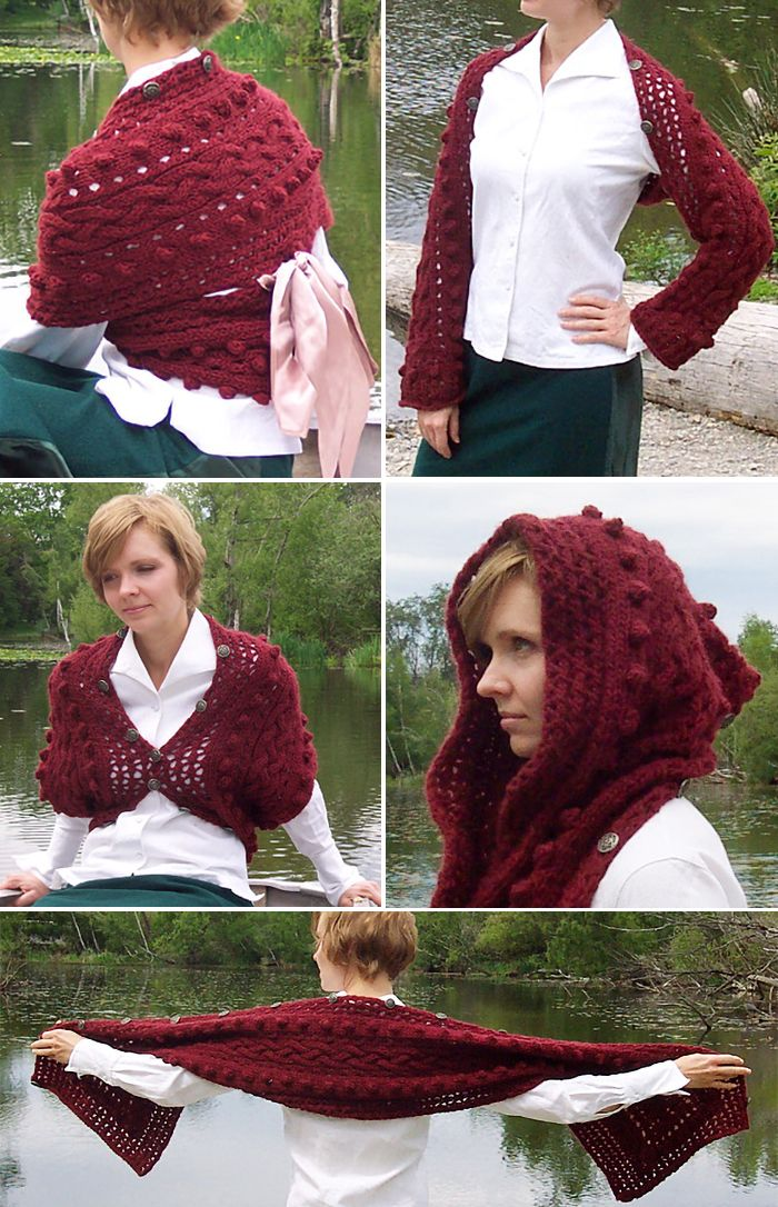 Free Knitting Pattern for Versatility Multi-Purpose Accessory - This cabled scarf with buttons along the side can transform into a cardigan, shrug, hood, and more with clever buttoning and some ribbon. Bulky yarn. Designedby Amanda Williams for Knitty