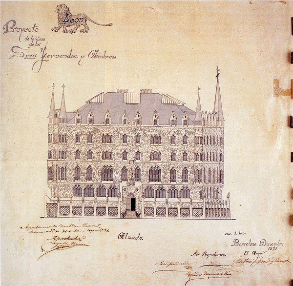 plano originales de antoni gaud de la casa botineslen casco antiguo