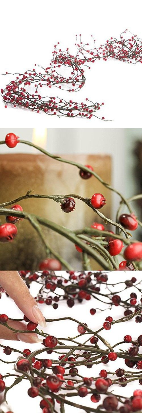 Factory Direct Craft 6 feet of Flexible Artificial Red and Burgundy Berry Garland for Christmas Holiday Decorations - Weatherproof Vinyl Garland - Use Indoors and Outdoors