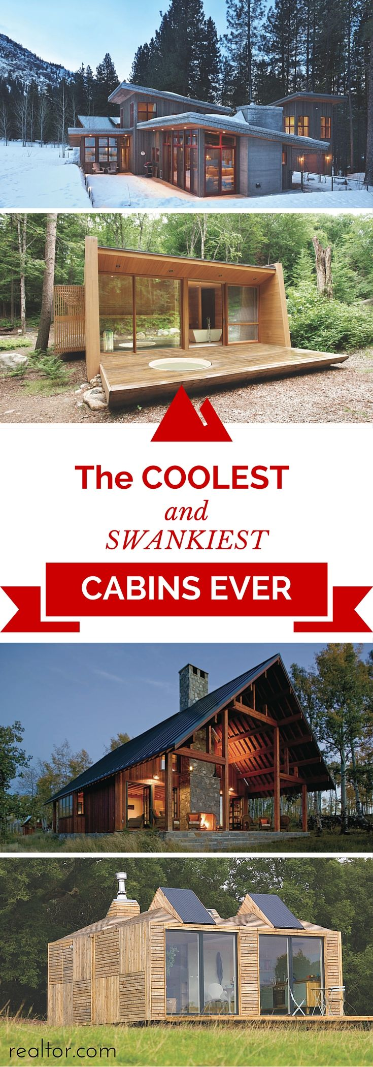 """The word """"cabin"""" may conjure up a slew of adjectives such as quaint, cozy, or rugged. But these unique cabins prove that some of these dwellings have come a long way from their rough-hewn roots. Click through for more gorgeous cabin goodness."""