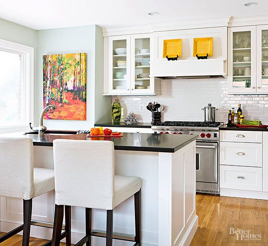 What's old is new again. Mint paint creates a beautiful blast from the past when used in the kitchen. Feature the pastel green hue on walls for full-on color, or use it on cabinetry or an island for a subtle statement. Paint Color: Healing Aloe, Benjamin Moore/
