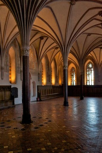 The delicate vaulted ceilings of Malbork Castle in Poland. These ceilings are another feature of gothic architecture.
