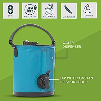 Camping Water Carrier Campervan Colapz 2-in-1 Collapsible Water Container