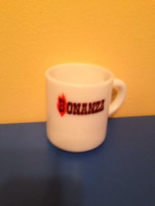 Rare Vintage BONANZA RESTAURANT Fire King Coffee Club Ad Advertising Mug MINT!