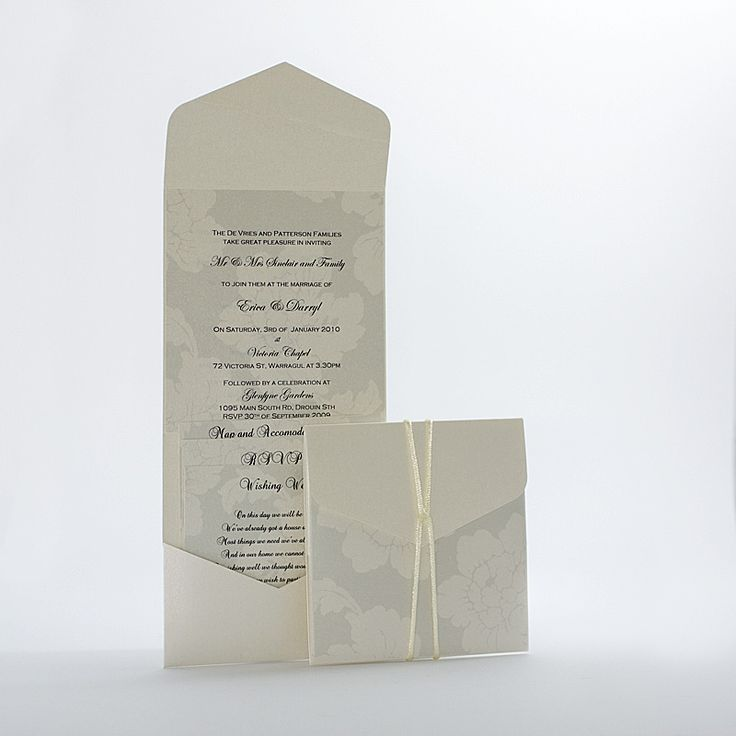 GARDENIA - A beautiful metallic ivory 13x13 pouch with the invitation printed on a complementary floral pearlised paper and closed with an ivory cord ribbon. This invitation includes a map, rsvp and wishing well card. PRICE: $7.95 https://www.facebook.com/NextChapterWeddingInvitations