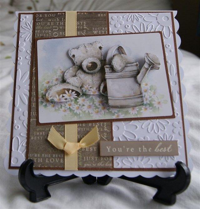 Wellington bear decoupage card | docrafts.com