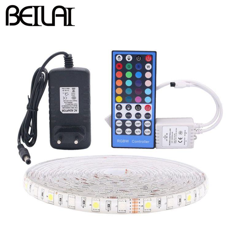 BEILAI 5050 RGB LED Strip Waterproof 5M 300LED DC 12V RGBWW RGBW LED Light Strips Flexible Neon Tape Add Remote and 3A 36W Power