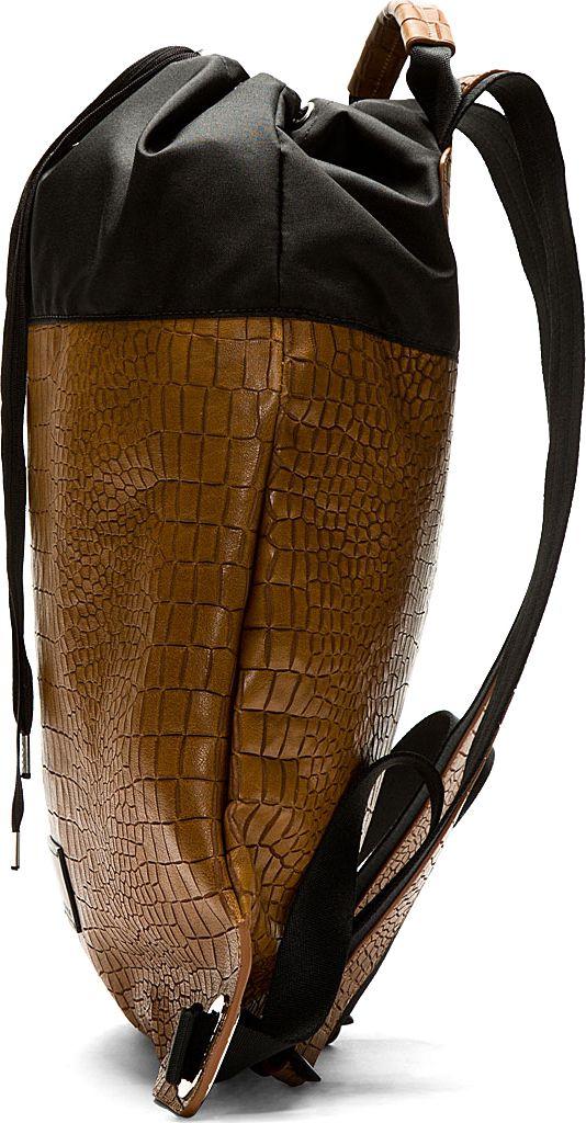 Krisvanassche Brown Leather Embossed Croc Backpack