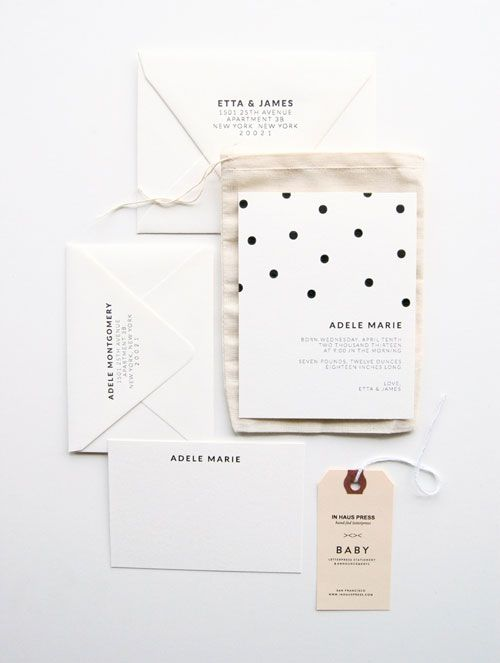 Polka-dot Letterpress Birth Announcements | In Haus Press. Love the print on the back of the envelope