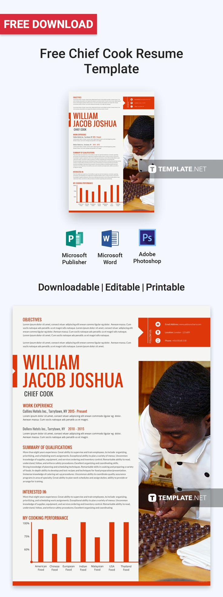 Chief cook resumecv template word psd apple pages