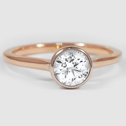 14K Rose Gold Luna Ring // Set with a 0.90 Carat, Round, Very Good Cut, G Color, SI1 Clarity Diamond #BrilliantEarth