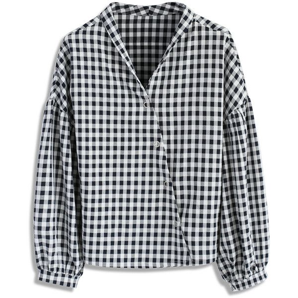 Chicwish Zest of Gingham Asymmetry Smock Top ($38) ❤ liked on Polyvore featuring tops, black, bubble sleeve top, smocked top, gingham top and smock top
