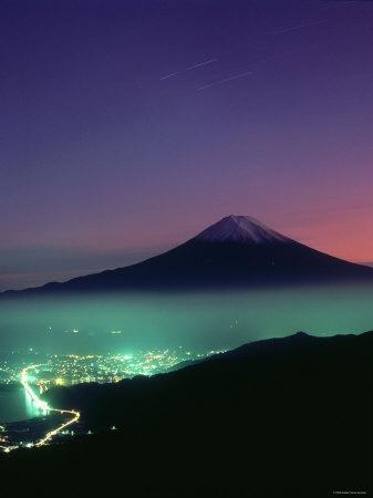 Mt Fuji and city lights viewed from Mitsu Tohge, Yamanashi, Japan
