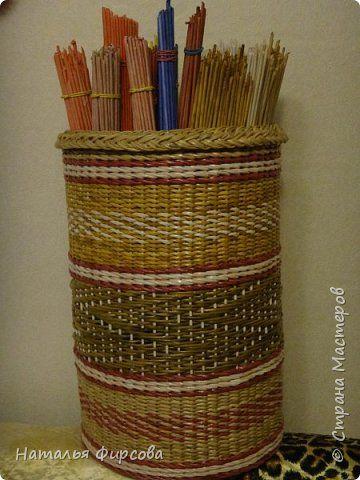 Поделка изделие Плетение Короб для трубочек и еще немного работ  Бумага газетная…