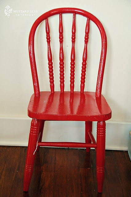 Who doesn't love a red chair!?! Happy red chair via @MissMustardSeed