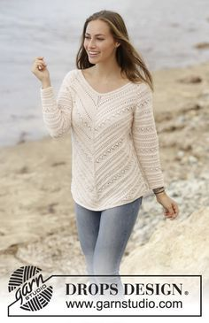 Chevron Delight jumper with raglan and lace pattern by DROPS Design Free Knitting Pattern