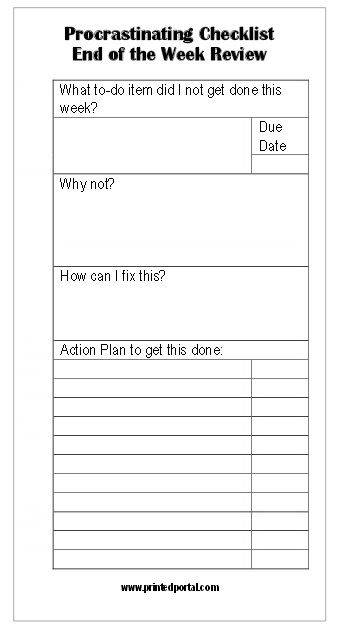 Free Stop Procrastinating! End of the Week Review Printable