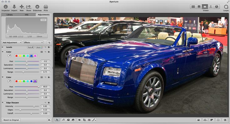 I change this blue Rolls-Royce to a red model with just a few clicks in Aperture 3.