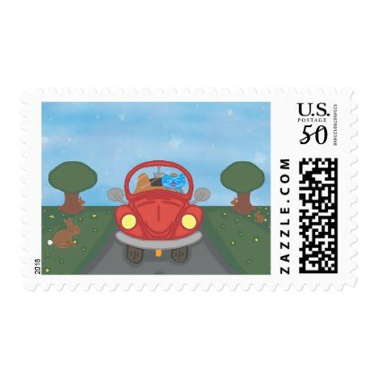 Milo Drives A Red Bug Car Spring Postage Stamp - cat cats kitten kitty pet love pussy