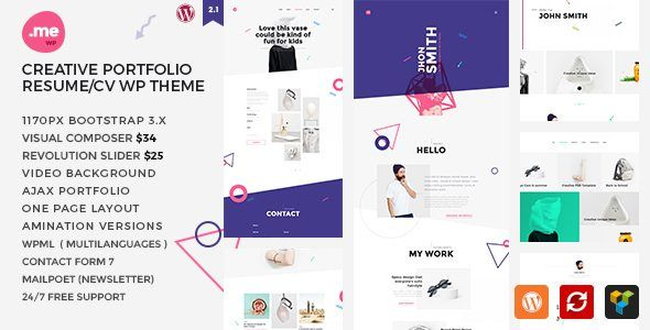 Download Me v21 - Creative Portfolio, Resume, CV WordPress Theme - portfolio for resume