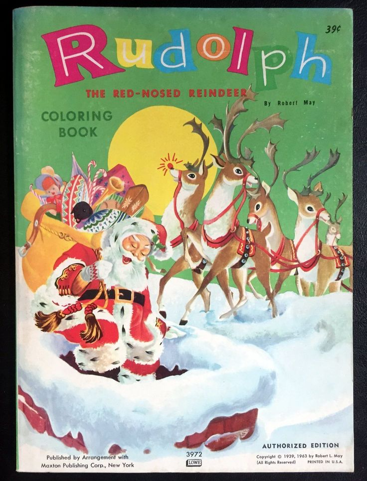 "RUDOLPH THE RED-NOSED REINDEER ~ vintage UNUSED Coloring Book ~ Robert May, Lowe FOR SALE • $34.99 • See Photos!  RUDOLPH THE RED-NOSED REINDEER By Robert May Copyrights 1939, 1963 Maxton Publishing Corp. / Lowe Condition: Size is 8"" x 11"". Soft cover. UNUSED. No writing or coloring. No tears. 302504773464"
