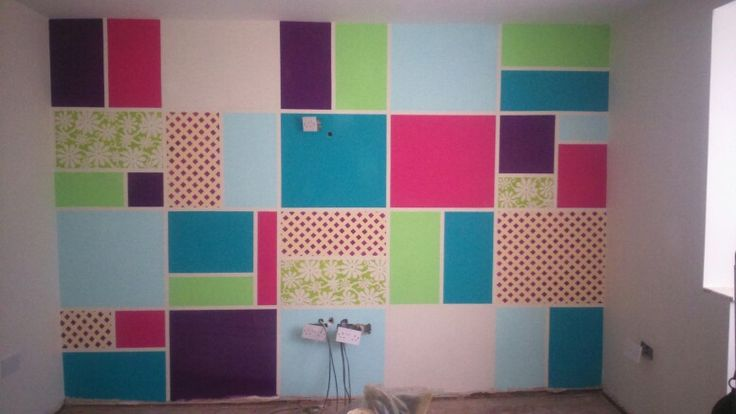 Patchwork wall.  Frogtape and paint (tester pots)  is all i used to create this stunning wall