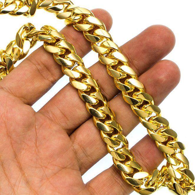 "14K YELLOW Gold MIAMI CUBAN SOLID CHAIN - 30"" Long 12X5MM Wide http://amzn.to/1UgCIlb"