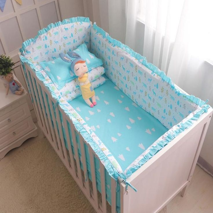 38.28$  Buy here - http://difv4.justgood.pw/ali/go.php?t=32788094067 - 6Pcs/Sets Cotton Baby Bed Bumpers Sets With zipper Printing Patterns Baby Bumper Bed Around Anti-collision Comfort Baby Bedding