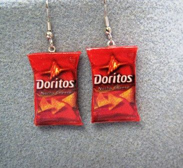 Doritos Nacho Cheese Kitsch Dangle Polymer Clay Junk Food Earrings Hypo Allergenic Nickle-Free. $15.00, via Etsy.