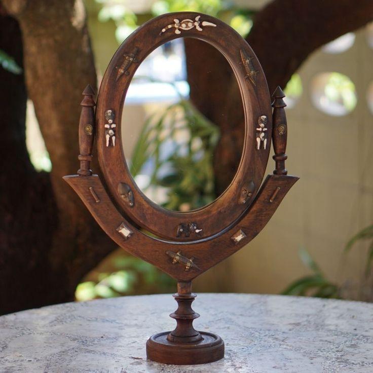 Antique Vintage Art Decor Wood Carved Handmade Dressing Table Make Up Mirror #Asian
