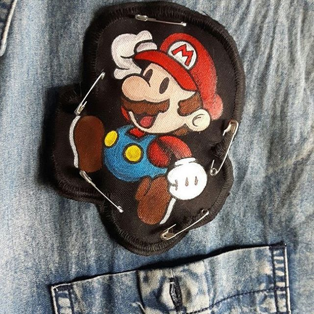 Swipe to see the progress! Here's my last creation: Paper Mario handpainted patch! Feeling melancholic? 🍄
