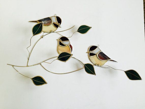 NEW!! 2016 Chickadee trio group stained glass suncatcher , birds on a 3 dimentional wire branch adorned with green glass leaves.