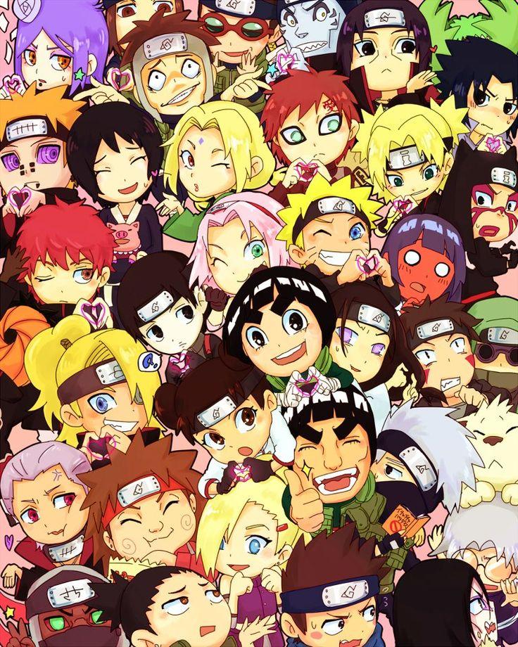 Naruto Yamato Gaara Kakashi Gai Sakura Sasuke Neji Hinata Sai Shikamaru Kiba Orochimaru Choji Temari Kankuro Itachi Tsunade Shizune Tonton Ino Deidara and so on..