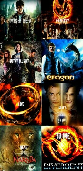 Harry Potter, The Hunger Games, Percy Jackson and the Lightning Thief, Eragon, Lord of the Rings, Doctor Who, Narinia Divergent